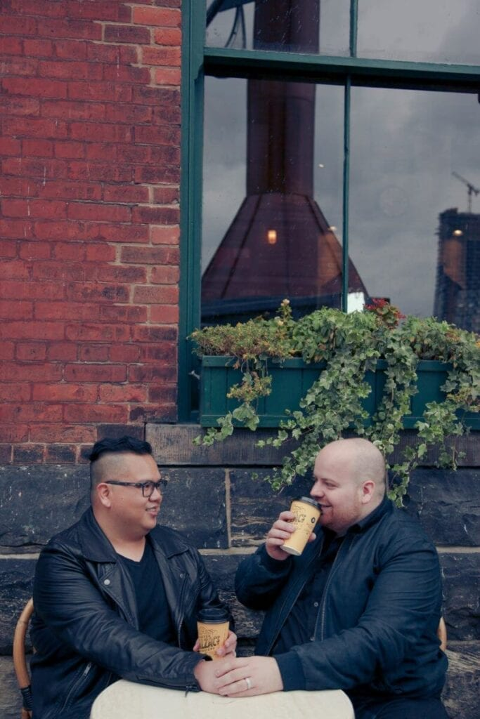 Pedro and Mark enjoying coffee at Balzacs
