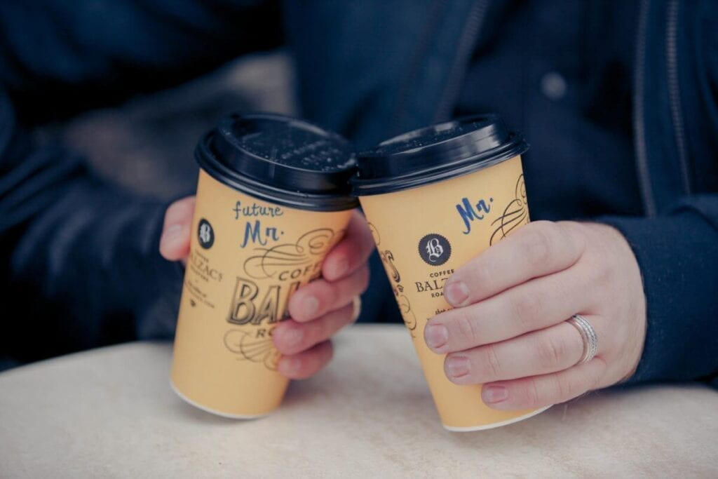 "Coffee cups with ""future Mr"" and ""Mr"" written on them"